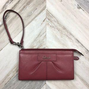 Coach Leather Rose Pink Wristlet Clutch Wallet